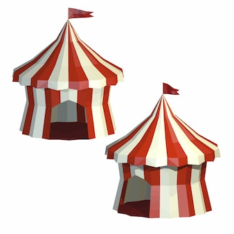 Stel circustent geïsoleerd op een witte achtergrond. circus. laag poly-stijl.