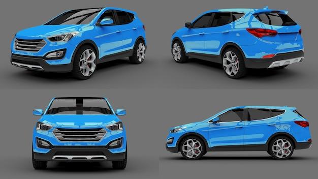 Stel compacte stad crossover blauwe kleur in op een grijze achtergrond. 3d-rendering.