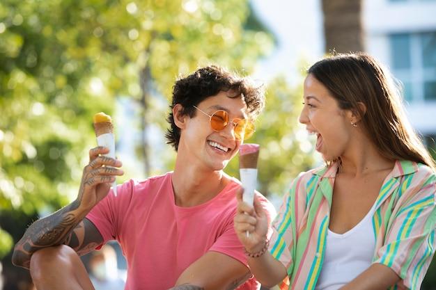 Stel dat ijs eet tijdens het reizen