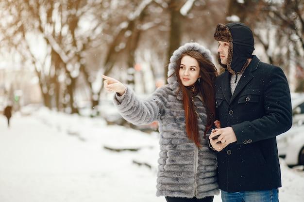 Stel in een winter stad