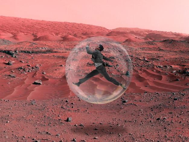 Stel je voor dat mensen op mars leven close-up landschap van een verlaten planeet schoonheid van het leven op mars