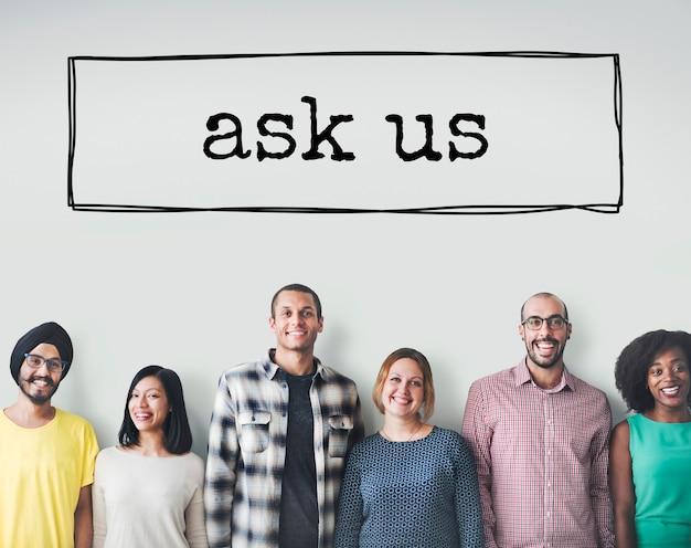 Stel ons een vraag informatie contact concept