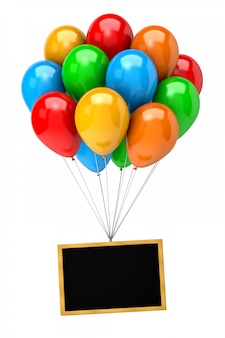 Stelletje ballonnen houden een leeg schoolbord