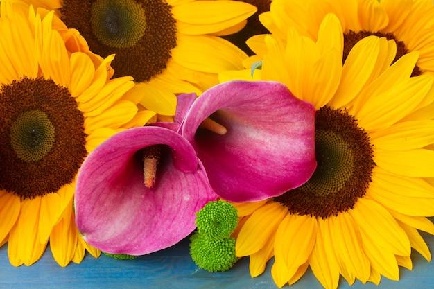 Stelletje gele zonnebloemen, roze calla's en groene moeders