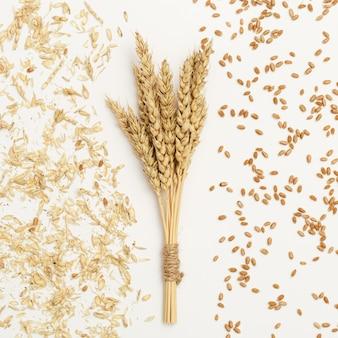 Stelletje rijpe tarwe oren close-up en zaden kaf op witte achtergrond creatieve herfst oogst