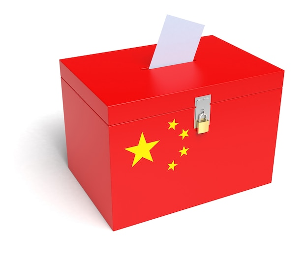 Stembus met chinese vlag. geïsoleerde witte achtergrond. 3d-weergave.