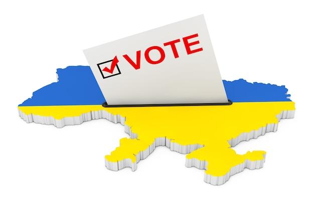 Stemmen in oekraïne concept. stemkaart half ingevoegd in de stembus in de vorm van oekraïne kaart met vlag op een witte achtergrond. 3d-rendering