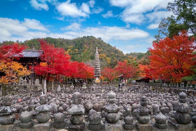 Stenen beelden markeren graven in adashino nenbutsuji tempel aan de rand van arashiyama met rode, gele esdoorn tapijt op piek vallen gebladerte kleur eind november in kyoto, japan.