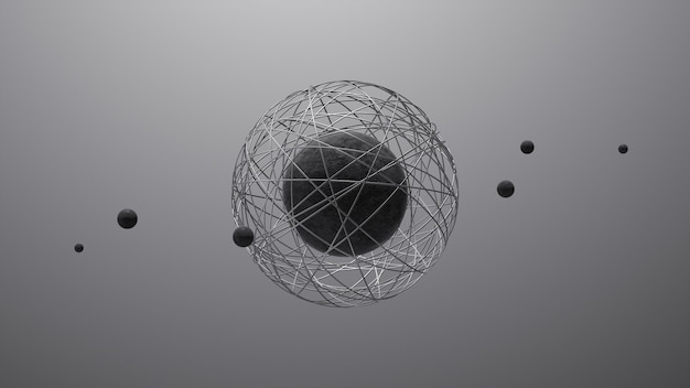 Stenen bollen en metalen ringen