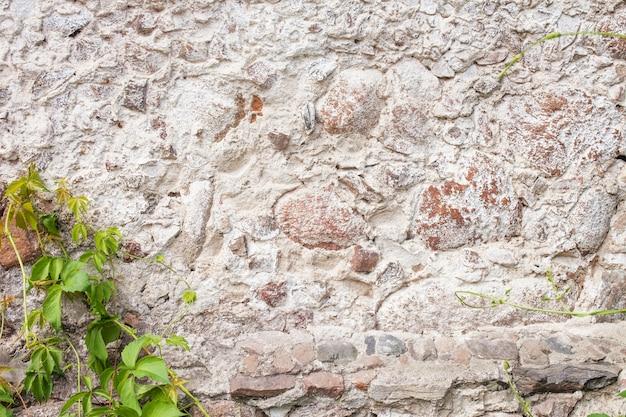 Stenen muur textuur. mozaïek rotsen decoratieve muur achtergrond. metselwerkmuur van oude stenen. oude stenen muur met klimop als achtergrond. decoratieve bekleding van de buitenmuren van het huis.