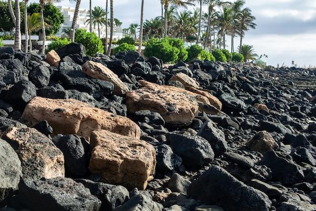 Stenen openen tijdens eb. strand in costa teguise. eiland lanzarote, spanje.