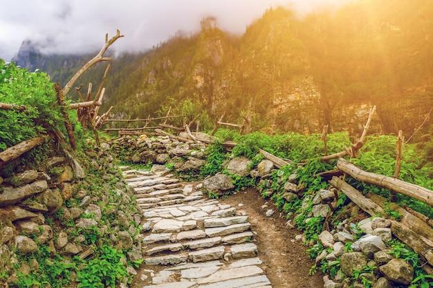Stenen pad in de bergen