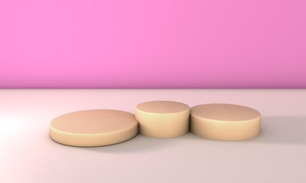 Stenen podium op roze achtergrond. 3d-afbeelding