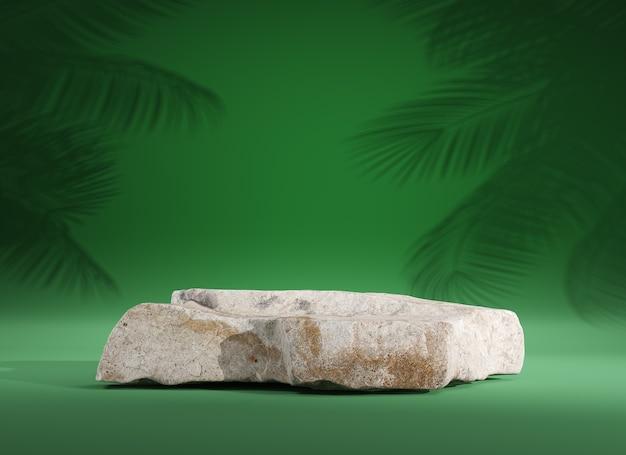 Stenen podium voor weergaveproduct op groene achtergrond, 3d