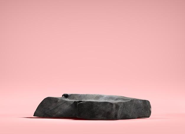 Stenen podium voor weergaveproduct op roze achtergrond, 3d