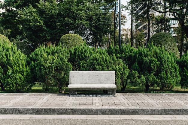 Stenen stoel in park met pijnbomen op de achtergrond