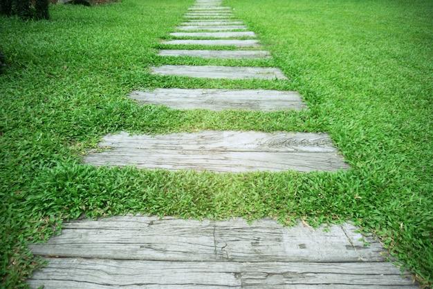 Stenen weg in het park met groene gras achtergrond.