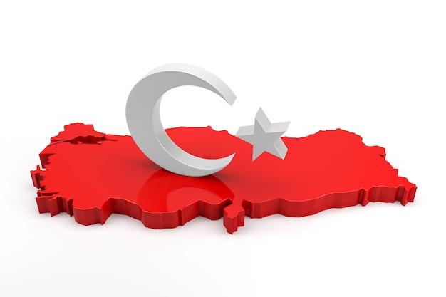 Ster en halve maan op de kaart van turkije. 3d-rendering