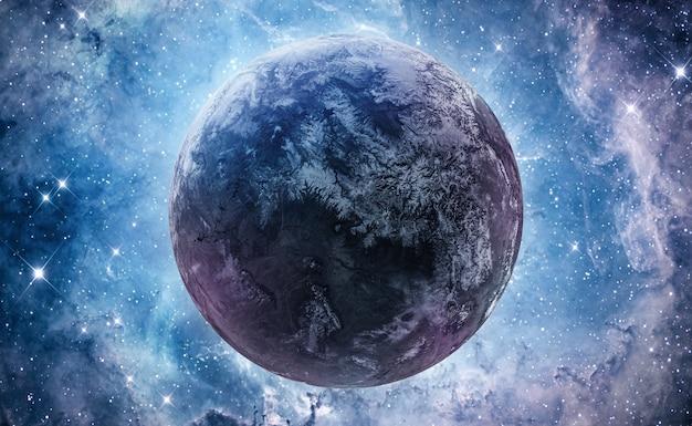 Ster en planeet in heldere diepe ruimte. nebula fantasie behang. kern van de melkweg. elementen van deze afbeelding geleverd door nasa