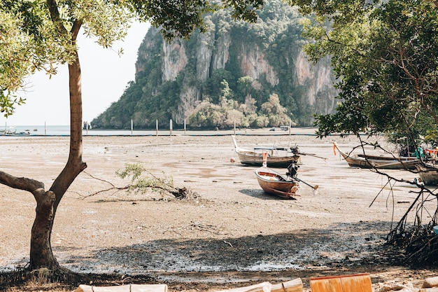 Sterk eb en droogte op een tropisch eiland. de boten liggen aan de grond.