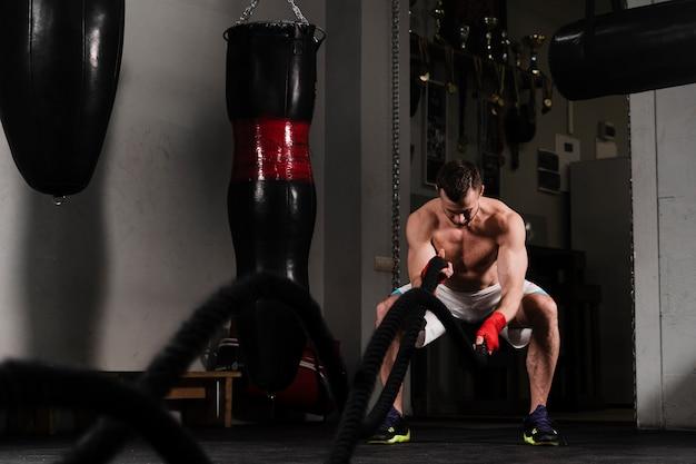 Sterke bokstraining voor een wedstrijd