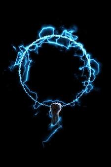 Sterke elektrische kracht in de hand. achtergrond. geïsoleerd