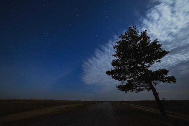 Sterren aan de nachtelijke hemel met wolken boven de weg