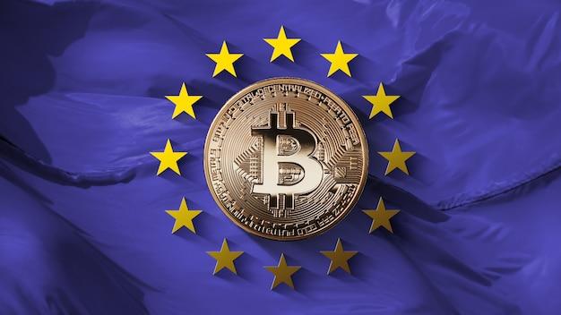 Sterren van de europese unie en bitcoin gouden munt op een ultraviolette achtergrond. controle van de bitcoin-platforms van de europese unie en de omzet van de cryptovaluta. kan worden gebruikt voor video of site c