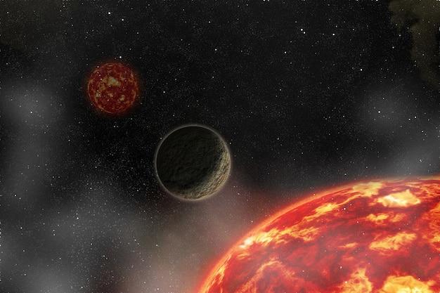 Sterren van een planeet en een sterrenstelsel in een vrije ruimte