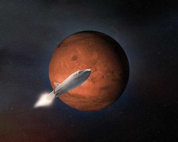 Sterrenschip op de achtergrond van de planeet mars