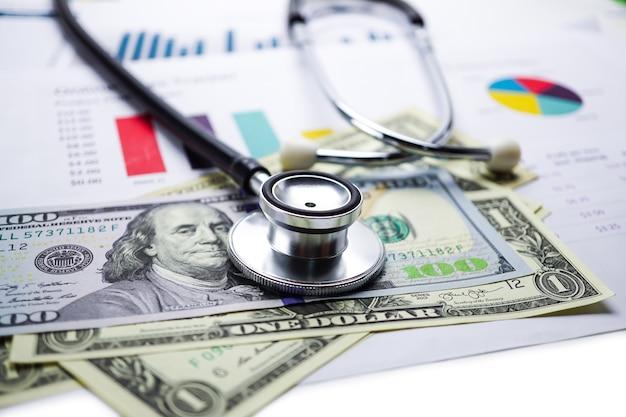 Stethoscoop, grafiekgrafiek, financiën, account, statistiek, analytische economie zakelijk