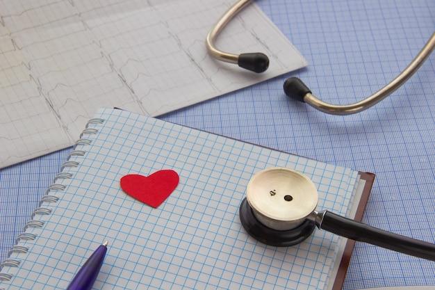 Stethoscoop, kladblok, pen, cardiogramhartpictogram op het bureaublad