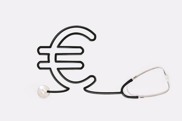 Stethoscoop met euro overzichtsbuis