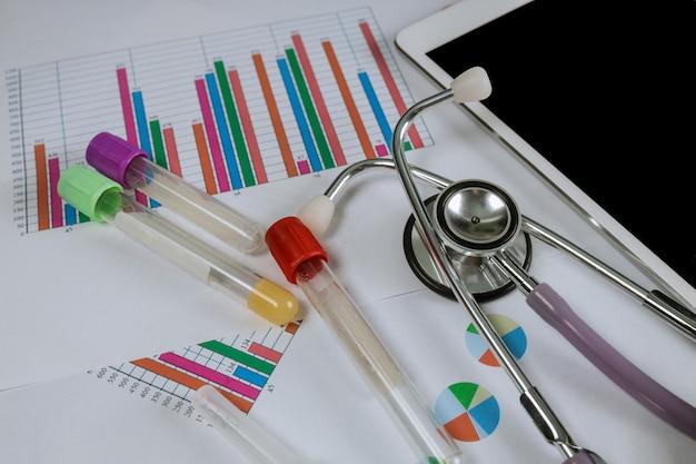 Stethoscoop op gezondheidszorgstatistieken gebruikte een medische labarotory digitale tablet