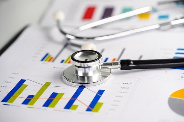 Stethoscoop op grafiek of millimeterpapier