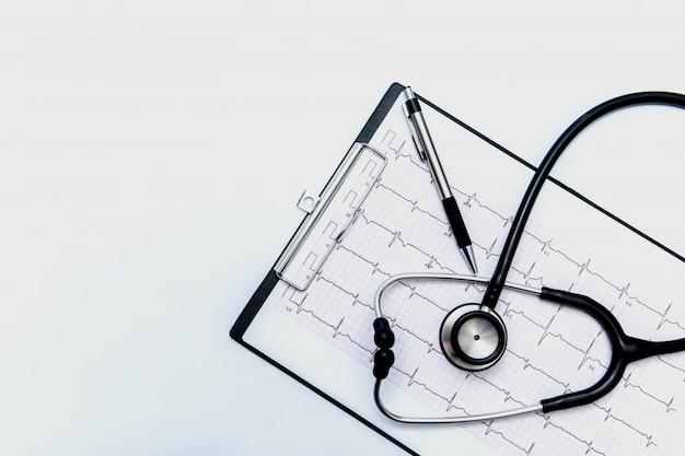 Stethoscoop zwart medisch klembord