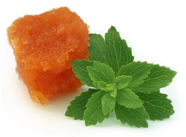 Stevia met melasse op witte achtergrond