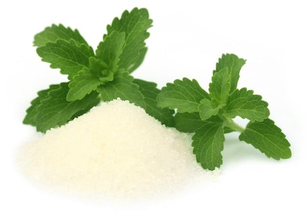 Stevia met suiker op witte achtergrond