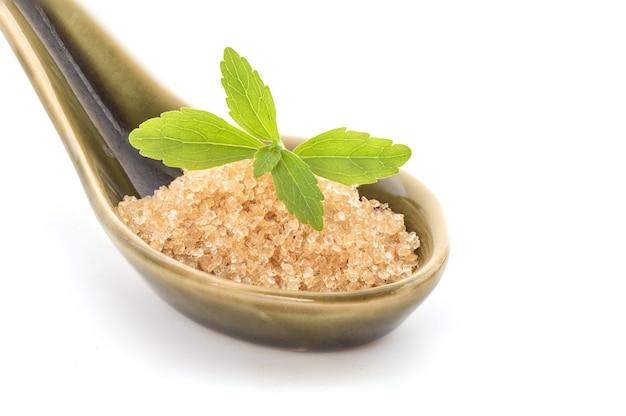 Stevia tak groene bladeren en suiker geïsoleerd.