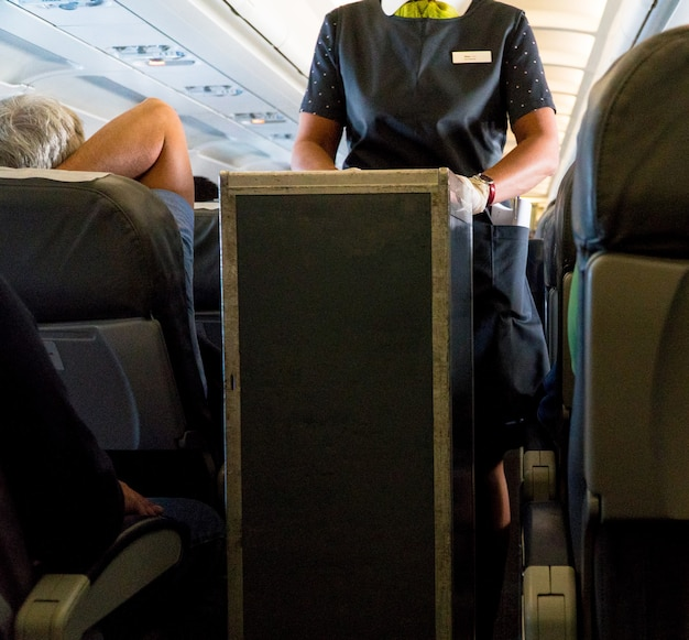 Stewardess in het cabinevliegtuig