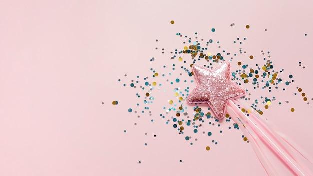 Stick met roze ster en glitter bovenaanzicht