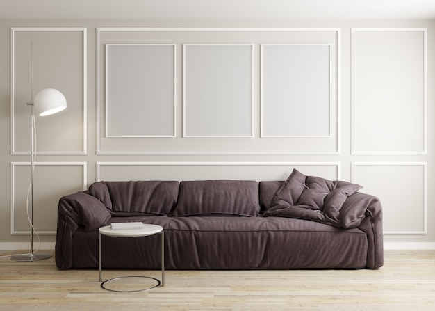 Stijlvol interieur van lichte woonkamer met bank, staande lamp en salontafel met decoratie. woonkamer interieur mockup. drie lege frames. 3d render