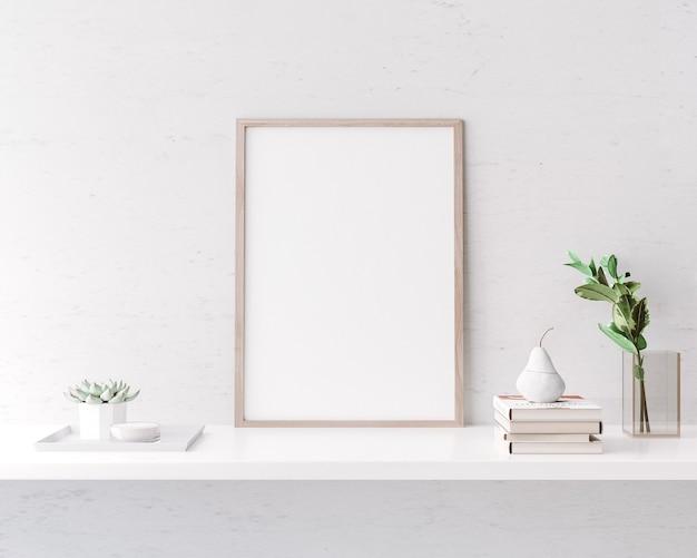 Stijlvol interieur van woonkamer met helder posterframe