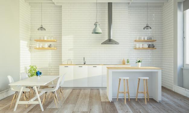 Stijlvol keukeninterieur met kookeiland en tafel
