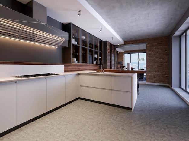 Stijlvol keukeninterieur met moderne kasten in nieuw huis. ontwerp in scandinavische stijl. eten koken. houten werkblad, spoelbak en fornuis. 3d-rendering