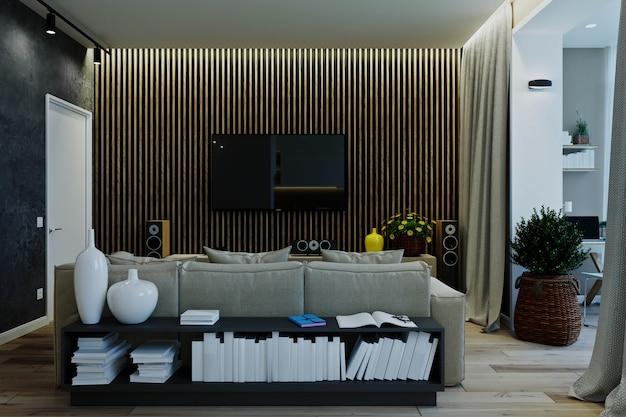 Stijlvol modern interieur van het appartement met prachtig uitzicht