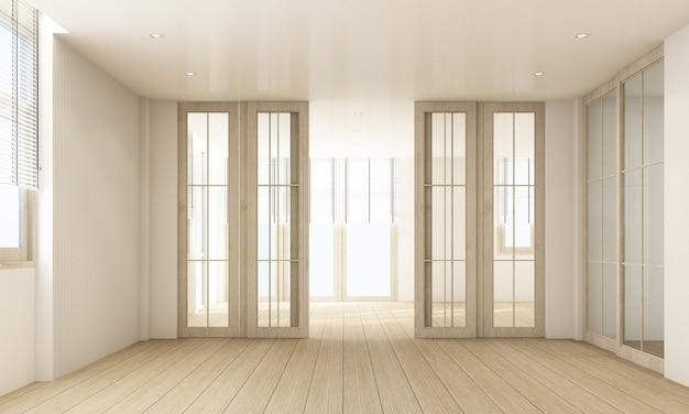 Stijlvol woonkamerbinnenland met houten vloer en gordijn