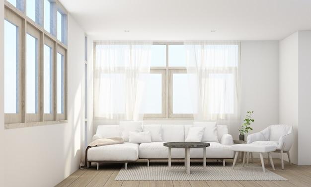 Stijlvol woonkamerinterieur met comfortabele bank, houten vloer en doorschijnend gordijn