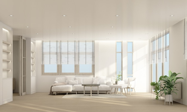 Stijlvol woonkamerinterieur met comfortabele bank, houten vloer en gordijn