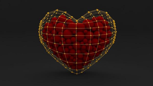Stijlvolle abstracte zwarte achtergrond met een hart gevuld met rode ballen en design.